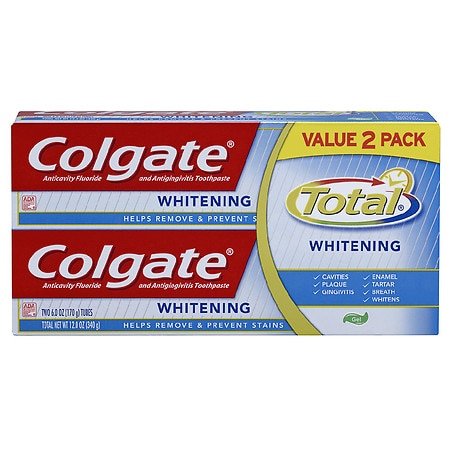 Colgate Total Plus Whitening Gel Toothpaste, Family Twin Pack