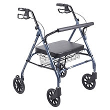 Drive Medical Heavy Duty Bariatric Rollator Walker with Large Padded Seat Blue