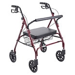 Drive Medical Go-Lite Bariatric Steel Rollator Red