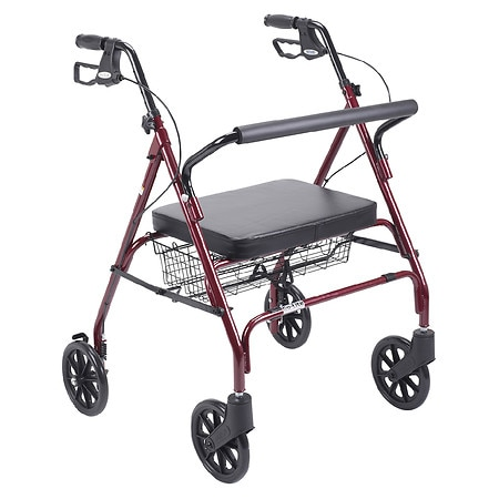 Drive Medical Heavy Duty Bariatric Rollator Walker with Large Padded Seat Red