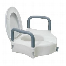 Drive Medical 12027RA Elevated Raised Toilet Seat with Removable Padded Arms