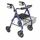 Drive Medical D-Lite Rollator Walker with Wheels and Loop Brakes w padded seat- Blue Blue