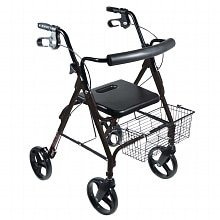 Drive Medical DLite Rollator Walker with Loop Brakes 8 Inch Wheels Black