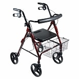Drive Medical D-Lite Rollator Walker with Wheels and Loop Brakes w padded seat- Red Red