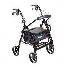 Duet - Rollator & Transport Chair Combo, Black, Black