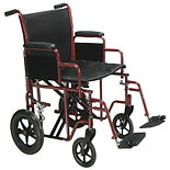 Drive Medical BTR20-R Transport Chair HD, 20-inch Red
