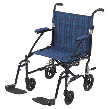 Drive Medical Fly-Lite Aluminum Transport Chair Blue Plaid