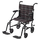 Drive Medical Fly-Lite Aluminum Transport Chair Black Frame, Black-Red Plaid Upholstery, 19 inch