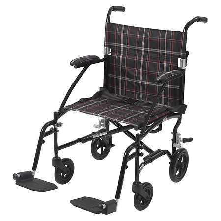 Drive Medical Fly-Lite Aluminum Transport Chair Black Plaid