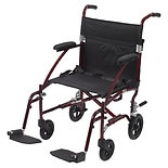 Drive Medical Fly-Lite Aluminum Transport Chair Burgundy Frame and Black Upholstery, 19 inch