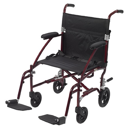 Drive Medical Fly-Lite Aluminum Transport Chair Red