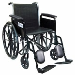 Drive Medical Wheelchair 16-inch Silver Sport 2 with Fixed Arms and Swing-Away Elevating Legre16 inch