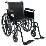 Drive Medical Wheelchair 16-inch Silver Sport 2 with Fixed Arms and Swing-Away Footrests-Silve16 inch
