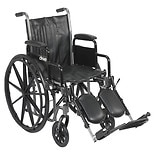 Drive Medical Wheelchair 18-inch Silver Sport 2  with Detachable Desk Arms and Swing-Away Elev18 inch