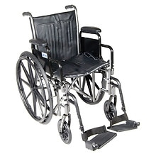 Drive Medical Silver Sport 2 Wheelchair with Detachable Desk Arms and Swing Away Footrest 18 inch