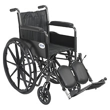 Wheelchair 18-inch Silver Sport 2  with Fixed Arms and Swing-Away Elevating Legr, 18 inch