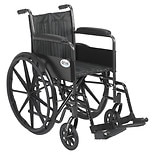 Drive Medical Wheelchair 18-inch Silver Sport 2 with Fixed Arms and Swing-Away Footrests-Silve18 inch