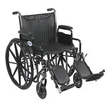 Drive Medical Wheelchair 20-inch Silver Sport 2 with Detachable Desk Arms and Swing-Away Eleva 20 inch
