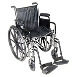 Drive Medical Silver Sport 2 Wheelchair with Detachable Desk Arms and Swing Away Footrest 20 inch