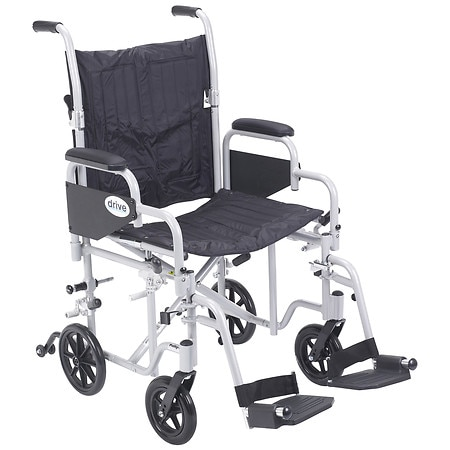 "Drive Medical Poly-Fly High Strength Lightweight Wheelchair / Transport Chair 20"" 20 Inch"