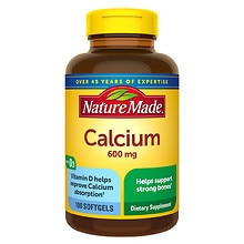 Nature Made Calcium 600 mg with Vitamin D Dietary Supplement Liquid Softgels