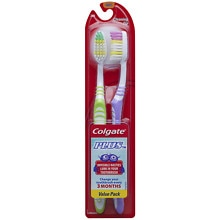 Plus Toothbrush, Dual Cleaning Tip, Twin Pack Soft