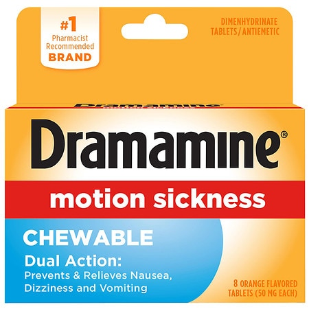 Dramamine Motion Sickness Relief Chewable Tablets Orange