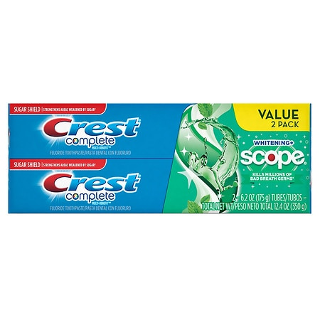 Crest Complete Whitening Plus Scope Fluoride Anticavity Toothpaste 2 Pack Minty Fresh