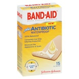 Band-Aid Waterproof Plus Antibiotic Adhesive Bandages 1 x  2.5