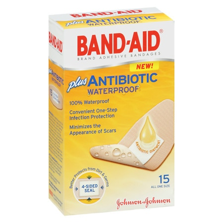 Band-Aid Waterproof Plus Antibiotic Adhesive Bandages One Size