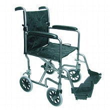 Duro-Med Ultra Lightweight Aluminum Transport Chair 19 Inch Titanium