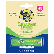 Banana Boat Aloe Vera with Vitamin E Sunscreen Lip Balm, SPF 45