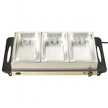 Nostalgia Electrics Buffet Server 3 Station, Stainless Steel Warming Tray