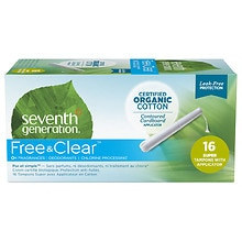 Seventh Generation Chlorine-Free Organic Applicator Tampon Super, 16 ea