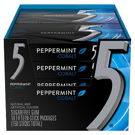 Five Sugarfree Gum Cobalt Cooling Peppermint,10 pk