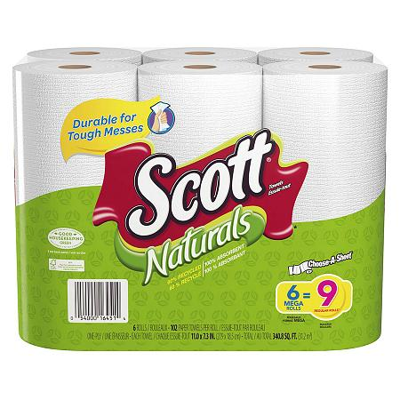 Scott Naturals Paper Towels, Choose-a-Size, Mega Roll 6 pk