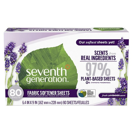 Seventh Generation Natural Fabric Softener Sheets Blue Eucalyptus & Lavender
