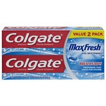 MaxFresh Whitening Fluoride Toothpaste with Mini Breath Strips 2 Pack Cool Mint