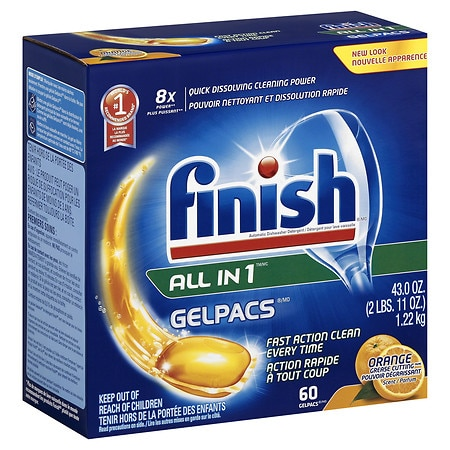 Finish All-in-One Dishwasher Detergent Gelpacs Orange