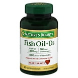 Fish Oil 1200 mg + Vitamin D3 1000 IU Dietary Supplement Softgels