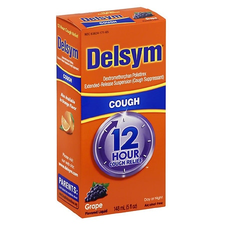 Delsym Extended Release Cough Suppressant, 12 Hour Grape Flavored Liquid