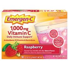 1000 mg Vitamin C Dietary Supplement Raspberry Fizzy Drink Mix 30 Pack, Raspberry