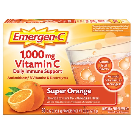 Emergen-C 1000 mg Vitamin C Dietary Supplement Fizzy Drink Mix 30 Pack Super Orange