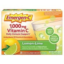 1000 mg Vitamin C Dietary Supplement Lemon Lime Fizzy Drink Mix, Lemon Lime