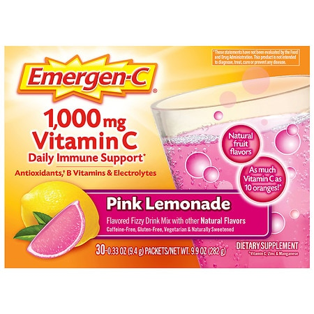 Emergen-C 1000 mg Vitamin C Dietary Supplement Fizzy Drink Mix Pink Lemonade