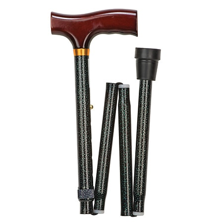Mabis Lightweight Adjustable Designer Cane, Derby Top Green Ice