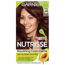 Garnier Nutrisse Nourishing Color Creme with Fruit Oil Concentrate Soft Mahogany Dark Brown 415