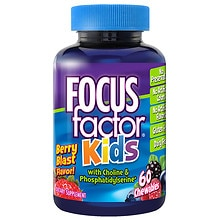 Focus Factor for Kids Brain Health Dietary Supplement Chewable Wafers Berry Blast Flavor