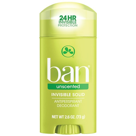 Ban Invisible Solid, Antiperspirant & Deodorant Unscented