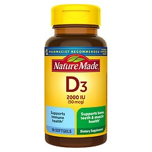Vitamin D 2000 IU Dietary Supplement Liquid Softgels